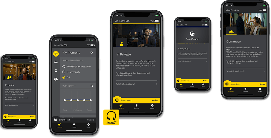 Screenshots from the Jabra Sound+ App - The perfect companion for your Jabra headphones